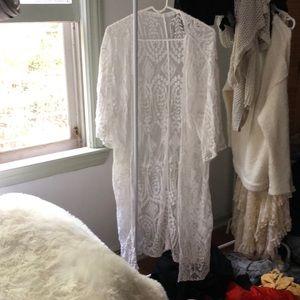 Urban Outfitters White Laced Kimono